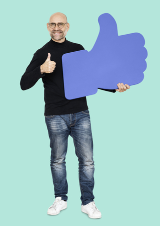 Cool man with a thumbs up Stock Photo