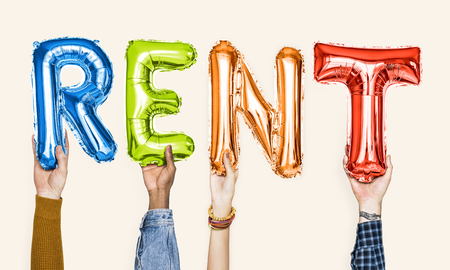 Colorful alphabet balloons forming the word rent Standard-Bild - 110600343