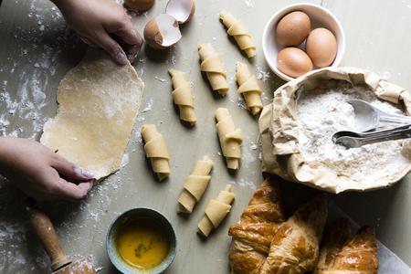 Domowe rogaliki przepis na fotografię żywności Zdjęcie Seryjne