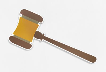 Judicial wooden gavel vector illustration Stock Photo