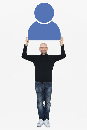 Happy man holding a blue user icon