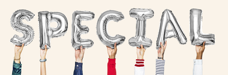 Silver gray alphabet balloons forming the word special Imagens