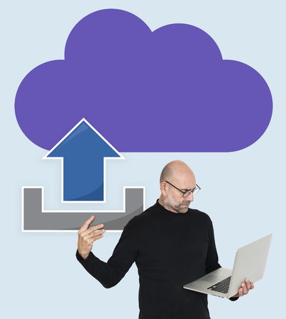 Man with cloud computing concept