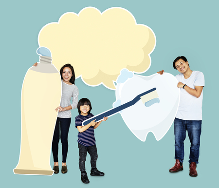 Family with good dental care Stock Photo