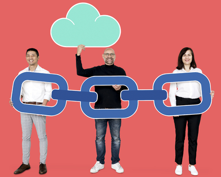 Business people with a secure blockchain