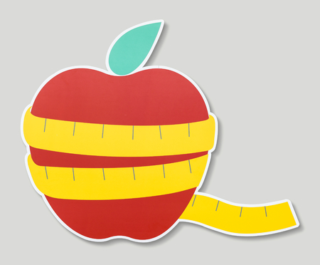 Red apple sign for dieting and healthy Stock Photo