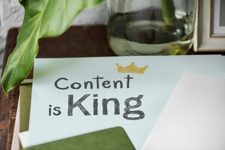 Content is king written on a paper Stok Fotoğraf - 110602924