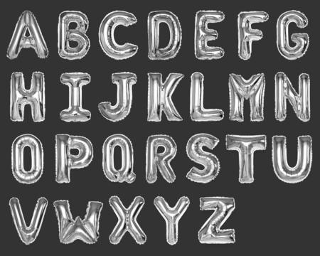 Set of silver capital A-Z alphabet balloons