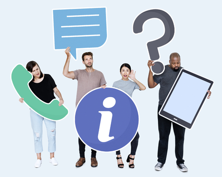 Diverse people with customer service icons