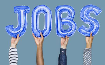 Hände, die Jobs zeigen, Ballons Wort