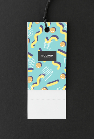 Colorful bookmark tag mockup design
