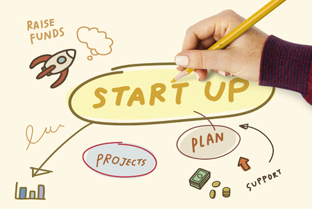 Woman drawing a startup plan