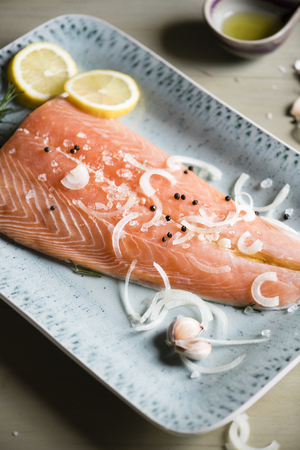 Salmon fillet food photography recipe idea 写真素材