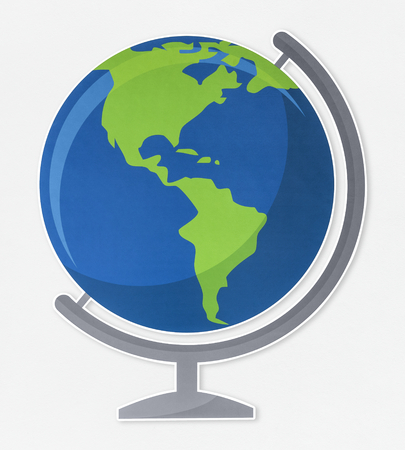 Standing desk globe geography icon 스톡 콘텐츠
