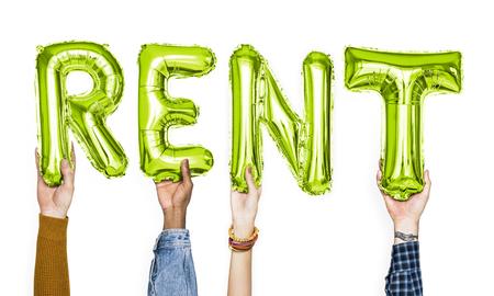 Green alphabet balloons forming the word rent Standard-Bild - 110603240