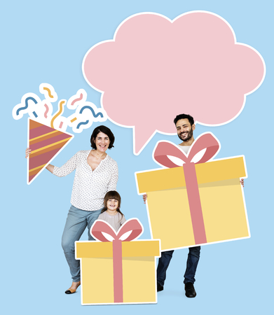 Happy family celebrating a birthday Stock Photo