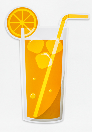 A glass of fresh orange juice icon isolated