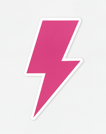Pink bolt of lightning icon Stock Photo