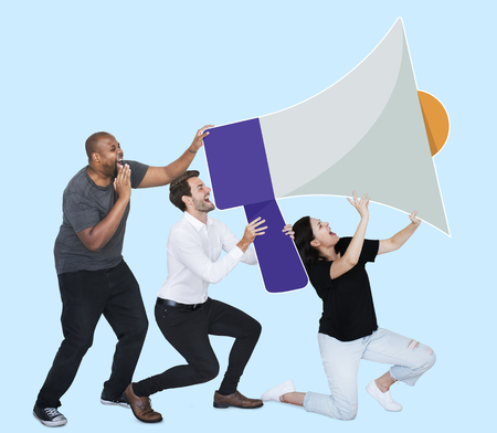People announcing by a megaphone