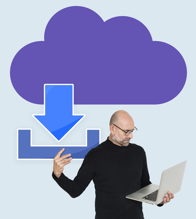 Man with cloud download concept