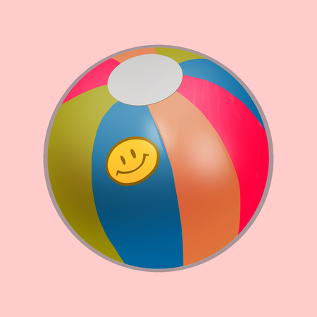 Colorful plastic beach ball illustration