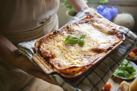 Homemade lasagna food photography recipe idea