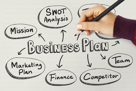Woman drawing business plan on a board