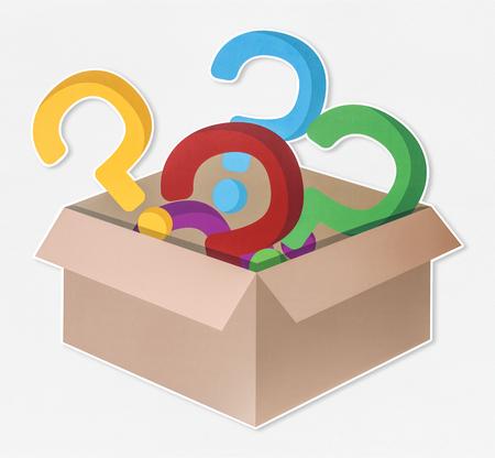 Bunte Fragezeichensymbole in einer offenen Box
