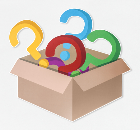 Colorful question mark icons in an open box Stock Photo