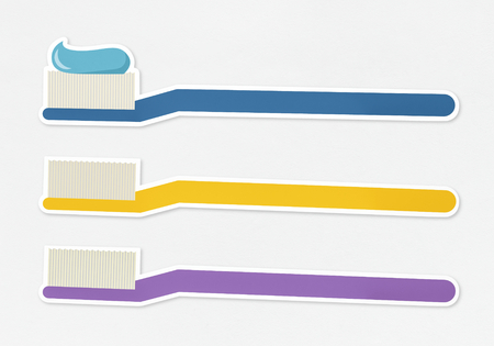 Three toothbrush with toothpaste icons