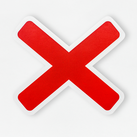 Red wrong cross icon isolated