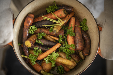 Steamed carrots food photography recipe idea