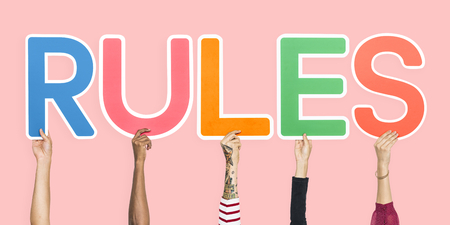 Colorful letters forming the word rules