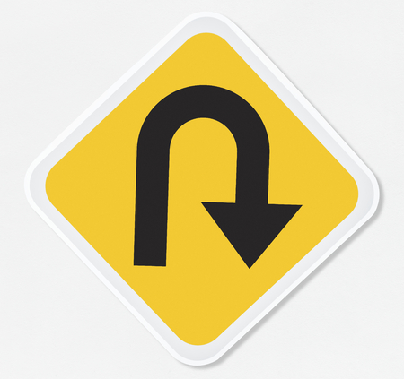 U turn road sign vector illustration