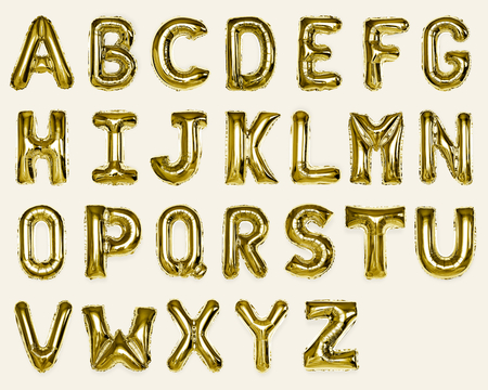 Set of gold capital A-Z alphabet balloons