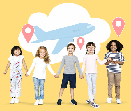 Diverse kids with dreams to explore the world Stock fotó
