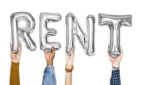 Silver gray alphabet balloons forming the word rent Standard-Bild - 111360265