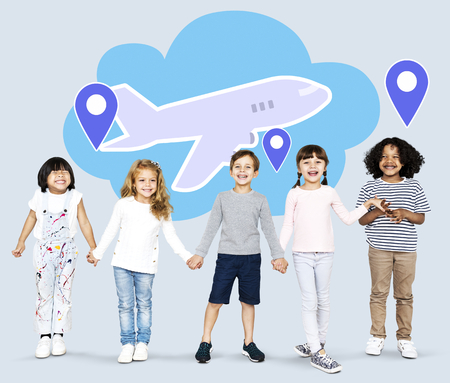 Diverse kids with dreams to explore the world Stock Photo