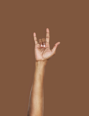 Hand with love expression gesture Foto de archivo - 111360463