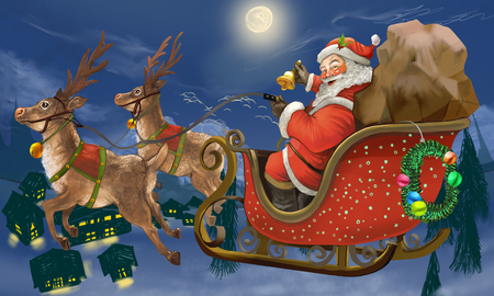 Hand drawn Santa Claus riding a sleigh delivering presents Фото со стока