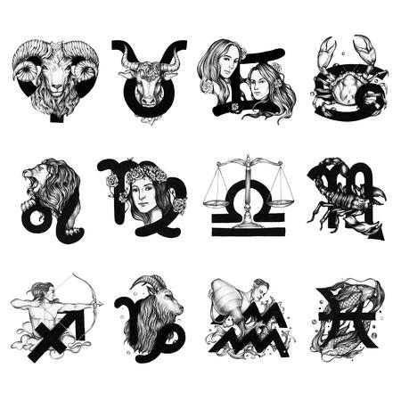 Set of horoscope symbols illustration
