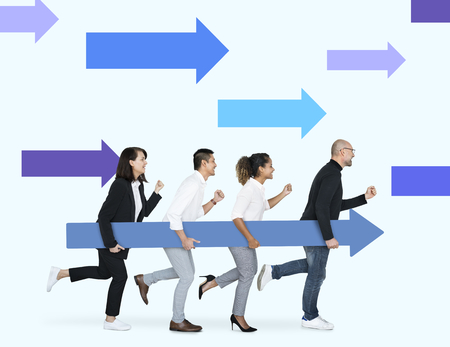 Business people running with an arrow