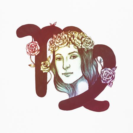 Hand drawn horoscope symbol of Virgo illustration 写真素材