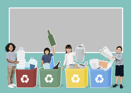 Happy kids collecting trash for recycling