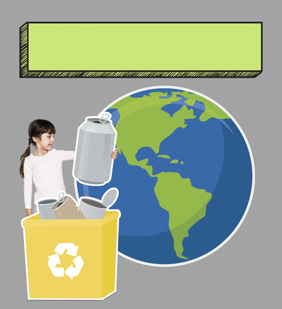 Happy girl collecting paper for recycling Stock Photo