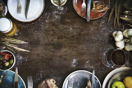 Food frame on a wooden table Reklamní fotografie