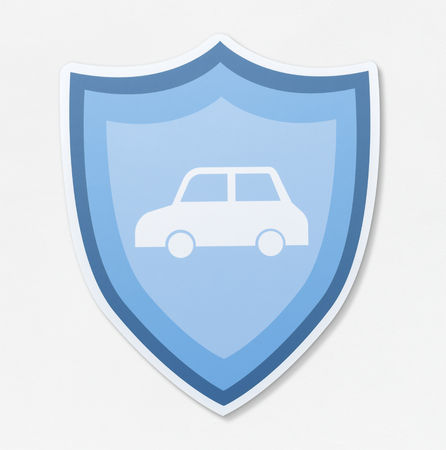 Car in a shield vector illustration icon Stock Photo