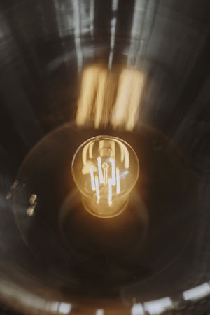 Closeup of a bright light bulb
