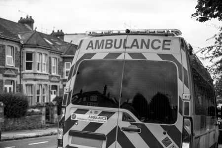 British ambulance responding to an emergency situation