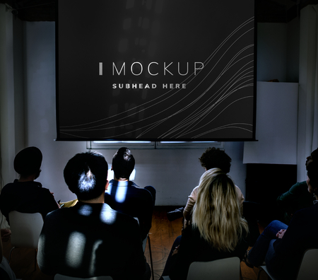 Projector screen mockup in a conference Stockfoto